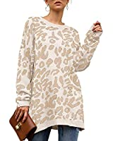 kenoce Women's Oversized Sweater Leopard Print Long Sleeve Crew Neck Casual Loose Pullover Knit Sweaters Tops Jumper White Large