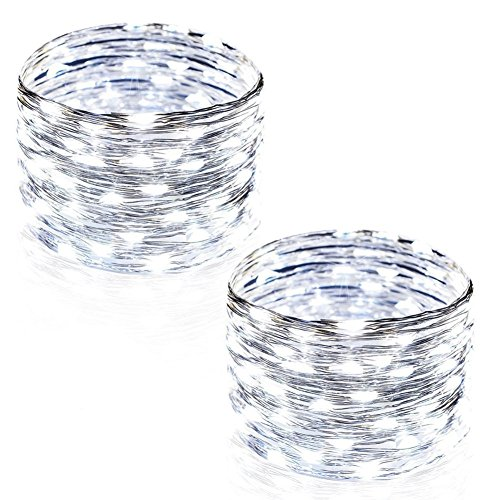 CrazyFire String Lights, 2 Pack String Lights 33ft 100 LED Waterproof Decorative Fairy Starry Lights for Bedroom, Patio, Parties (Copper Wire Lights, Cool White)