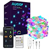 Smart Led Guirnalda Luces 10M, AUOOP Luz de Cadena Bluetooth APP Controlado, Dreamcolor Rainbow Music Sync, Luces de Hadas para Photo Wall, Habitación para Niños, Fiesta Balcón, Decoración Navideña