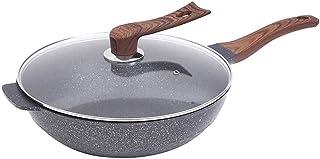 XXDTG Wok à fond plat antiadhésif de style japonais Maifan Stone Poêle à frire profonde 32cm Cuisinière à gaz Ustensiles d...