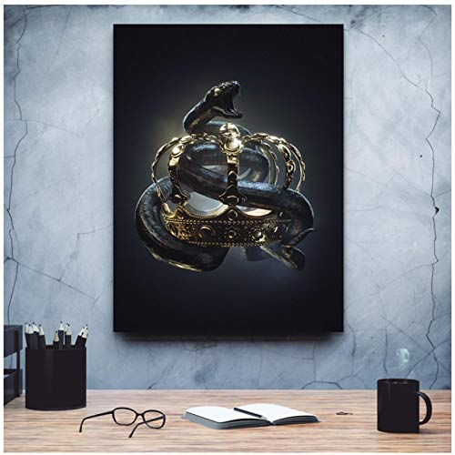 ZXYFBH Wall Art Crown Snake Print Poster Modular Black Gold Canvas Cool Home Decoration Pictures For Living Room 15.7x23.6in(40x60cm) x1pcs No Frame