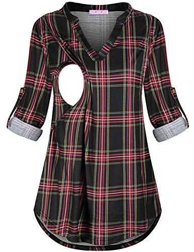 JOYMOM XL Nursing Tshirts,Mother Roll Sleeve Durable Hemline Gingham Breastfeeding Tops Lactation Useful Postpartum Covers Belly Clothing Cool Pregnancy Henley Shirt Red Black