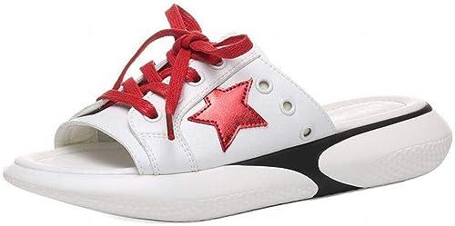 LTN Ltd - sandals Sandales Sandales Et Pantoufles pour Femmes, Sandales Et Pantoufles D'été, Portant des Chaussures à la Mode, Chaussures pour Femmes Populaires, Rouge, 40