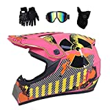 Casco de motocross con los guantes Gafas de máscara, la suciedad bicicletas para adultos ATV de la motocicleta del camino de descenso Enduro Casco Moto Cross MX Quad cara llena MTB Casco Conjunto