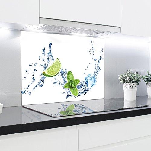 Crédence en verre trempé résistant à la chaleur - 90 x 65 cm - 4 mm d'épaisseur - Idéal derrière les plaques à gaz, vitrocéramique et induction - Facile à nettoyer et à suspendre