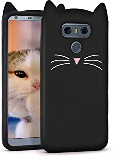 Megantree Cute LG G6 case, LG G6 Plus case, Kavii Funny 3D Cartoon Animals Black Whisker Cat Ears Kitty Case, Soft Silicone Shockproof Slim Fit Back Cover Cases for Girls Kids Women Lady