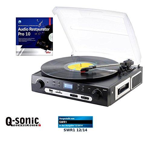 Q-Sonic USB Kassettendeck: Schallplatten- und MC-Digitalisierer + Audio Restaurator Pro 10 (USB Plattenspieler)