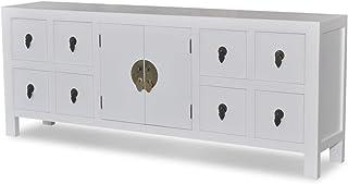 Aparador con 8 Compartimentos y 2 Puertas Material: MDF + Madera de Pino 1222 x 24 x 48 cm