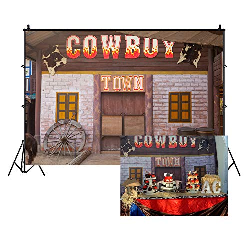 LFEEY 9x6ft Country Western Barn Backdrop for Parties Wild West Cowboy Farmhouse Tavern Wood Wheel Town Building Doorway Photography Background Theme Party Birthday Events Photo Studio Props