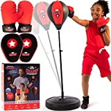Punching Bag for Kids 3-10 Easy to Assemble +Boxing Gloves +Focus Pads +toys for 7 year old boys +Boys toys