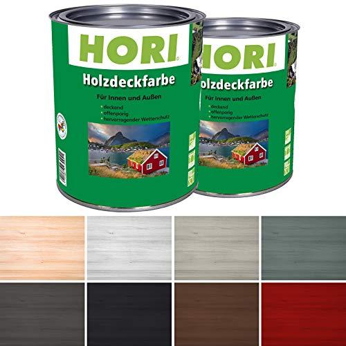 HORI® Holzfarbe für Innen und Außen I Landhausfarbe, natürlich deckend I Farbe Anthrazit-Grau