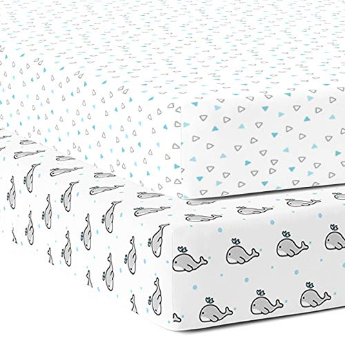 The White Cradle Pure Organic Cotton Fitted Cot Sheet for Baby Crib 120 x 60 cm Super Soft, Smooth, Absorbent Breathable Twill Fabric for Infants, Newborns, Babies, Toddlers- Blue Whale and Triangles
