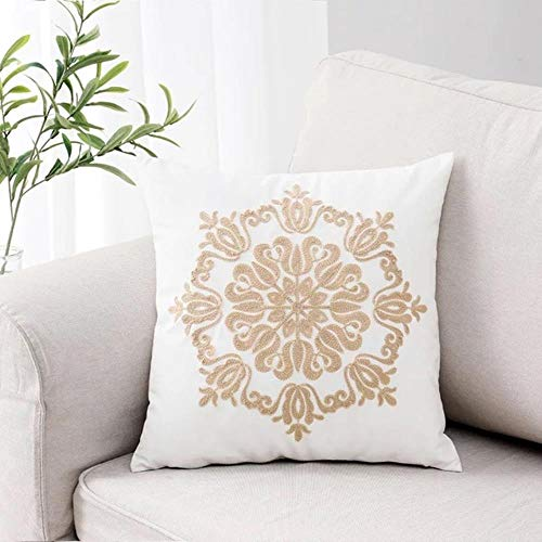 MZW Embroidered Cushion Cover Navy Blue Coffee Ethnic Floral Canvas Cotton Square Embroidery Pillow Cover Home Decor,B