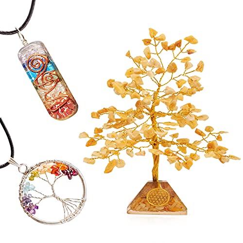 YATSKIA Yellow Aventurine Gemstone Money Tree Good Luck Fortune Spiritual Crystals Healing Stones Feng Shui Seven Charka Trees of Life Pendant Necklace Handmade Prosperity Buddha Sculpture