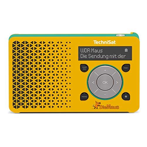 TechniSat DIGITRADIO 1 Maus Edition - tragbares DAB+ Radio mit Akku (DAB, UKW, Kopfhöreranschluss, Lautsprecher, 1 Watt RMS) gelb/türkis