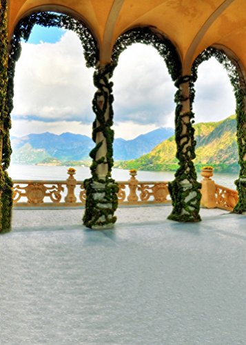 A.Monamour Kuppeldach Wölbte Pavillon Am Meer Berge Naturlandschaft Vinyl Wand 5X7Ft Fotografie Kulissen