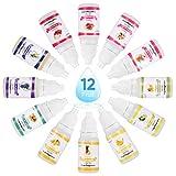 Funxim Lot de 12 flacons d'huile parfumée liquide pour cosmétique et bombe de bain 10 ml