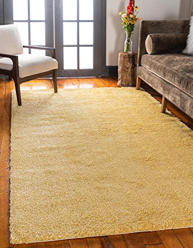 Unique Loom Solo Collection Solid Plush Kids Yellow Area Rug (8' 0 x 10' 0)