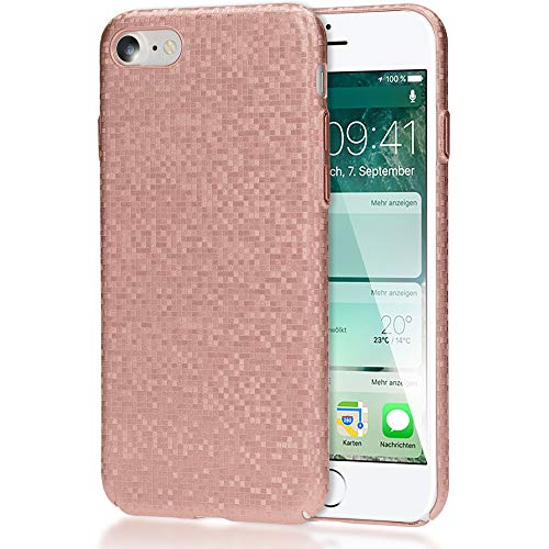 NALIA Handyhülle kompatibel mit iPhone SE 2020/8 / 7, Mosaik Slim Hard-Case Backcover Schutzhülle, Handy-Tasche im Metall-Look, Dünnes Karo Etui Skin Hülle Fliesen-Muster, Farbe:Rose Gold