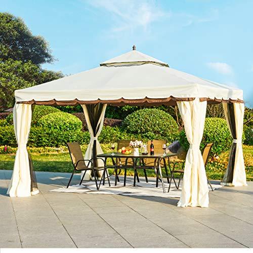 YOLENY 10'x 12' Outdoor Gazebo Canopy, Aluminum Frame Soft Top...
