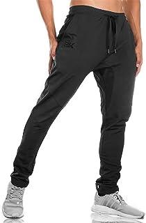 BROKIG ジップジョガーパンツ メンズ トレーニングウェア ダブルポケット付き 筋トレ パンツ ジムウェア スリム 通気性 ストレッチ