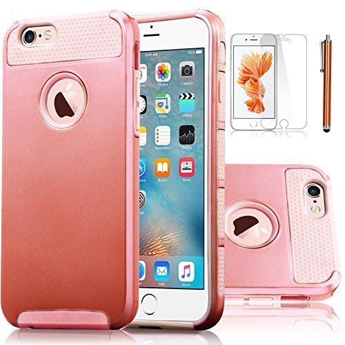 Elegant Choise Compatible with iPhone 6S Plus Case, Extra 2in1 Slim Case, Hybrid Dual Layer Shockproof Tough Plastic Silicone Hard Protective Case Cover (Rose Gold)