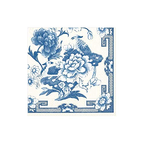 Caspari Blue & White Paper Cocktail Napkins - Two Packs of 20
