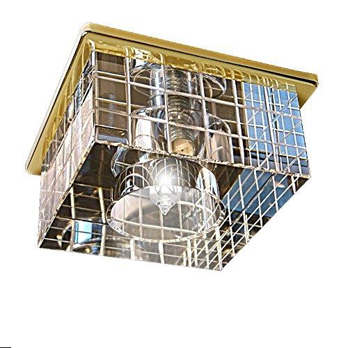 gumarcris 2050CR–Exklusive Einbauspot mit Lampenschirm aus Glas transparent und Dekoration handgeschnitzt Cristal Transparente/Oro