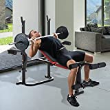 HOMCOM Multi-Function Adjustable Weight Training Bench Full-Body Training Work Out Home Gym Fitness Lifting Bench w/Butterfly & Leg Extension