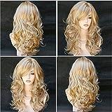 Parrucca da donna parrucca da festa in maschera con cappuccio in fibra chimica con capelli lunghi ricci lunghi multicolori medi