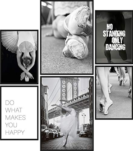 Papierschmiede® Mood-Poster Set Ballerina | 6 Bilder als stilvolle Wanddeko | 2X DIN A4 und 4X DIN A5 | Tanzen Ballett Kleid - ohne Rahmen