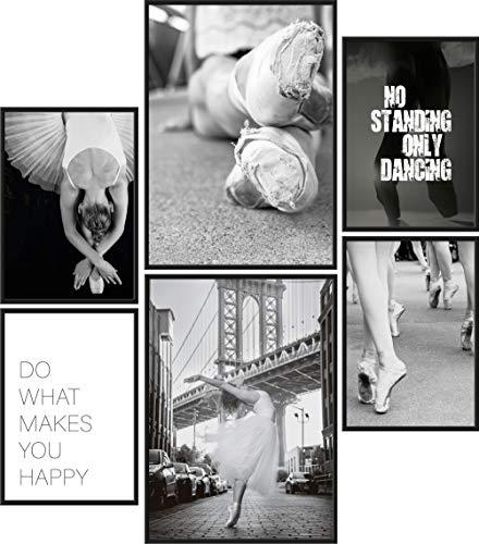 Poster Set Ballerina | 6 Bilder als stilvolle Wanddeko | 2X DIN A4 und 4X DIN A5 | Tanzen Ballett Kleid