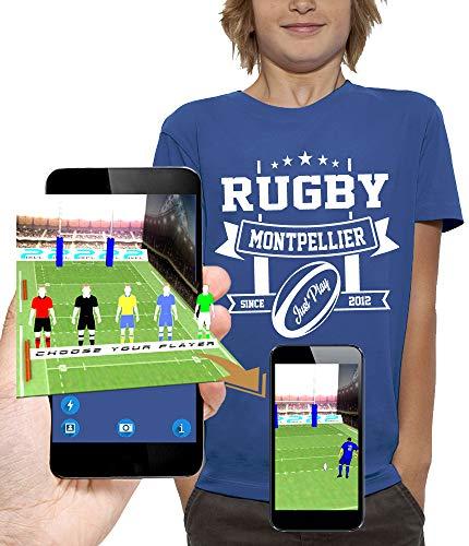 PIXEL EVOLUTION Camiseta 3D Rugby Montpellier en Realidad Aumentada Niño - tamaño 5/6 años - Royal Blue