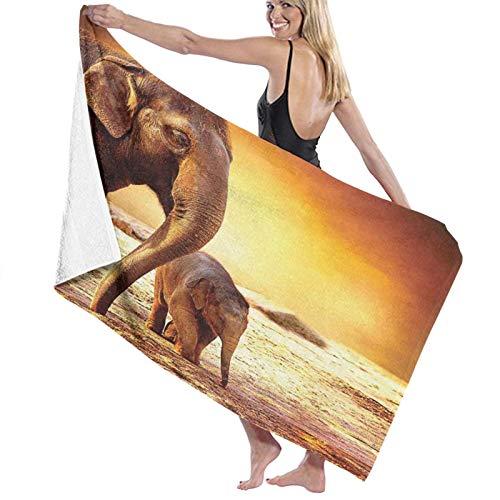 Grande Suave Ligero Toalla de Baño Manta,Impresión de la Familia del Elefante del bebé de la Madre del zoológico,Hoja de Baño Toalla de Playa por la Familia Hotel Viaje Nadando Deportes,52' x 32'
