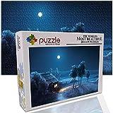 GFSJJ Puzzles para Adultos para Niño Infantiles Adolescentes Adultos Puzzles 1000 Piezas Choza En El Paisaje De Fantasía Nocturna. Educativos Entretenimiento Adultos (38 X 26 Cm)