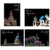 DHRH Scratch Art para Adultos y niños, A4 Color Night Scenes Painting City Scenery Scratch Painting DIY 18-Year-Old Girlfriends Gift, Architecture