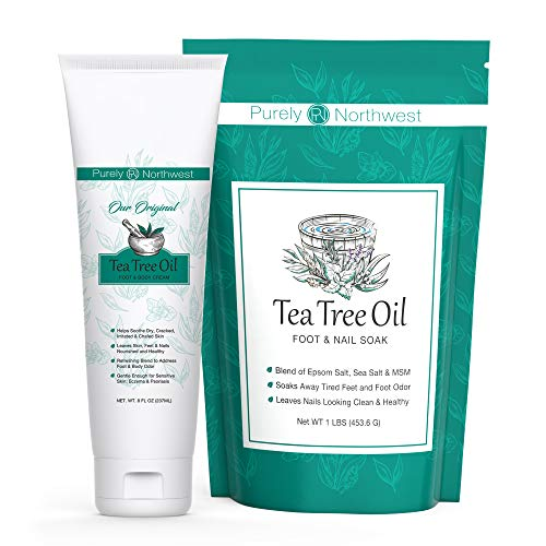 Our Best Kit for Foot Odor & Cracked Heels-Tea Tree Foot Soak with Foot & Body Cream-Eliminates Unwanted Foot Odor-Repairs Dry Cracked Heels and Feet-Gentle for Sensitive Skin 16(1Lb), 8 Fl Oz