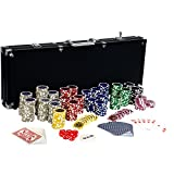 Ultimate Black Edition Pokerset, 500 hochwertige 12 Gramm METALLKERN Laserchips, 100% PLASTIKKARTEN,...