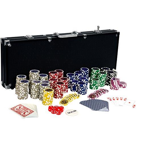 Ultimate Black Edition Pokerset, 500 hochwertige 12 Gramm METALLKERN Laserchips, 100{3ce0b2518b879588ac95768b8faaa8e97470da7e15c281410fee2899ccb27084} PLASTIKKARTEN, 2x Pokerdecks, Alu Pokerkoffer, 5x Würfel, 1x Dealer Button, Poker, Set, Pokerchips, Koffer, Jetons