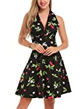 ACEVOG Womes' Floral Printed Deep Wrap V-Neck Sleeveless A-Line Skater Dress Black XL