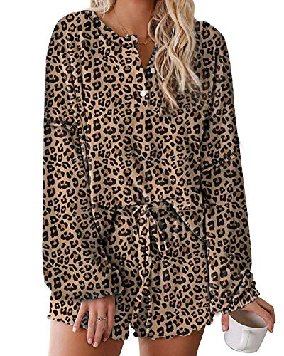 ORANDESIGNE Schlafanzug Leopardenmuster Kurz Damen Langarm Top und Shorts Pyjama Set A Leopard L