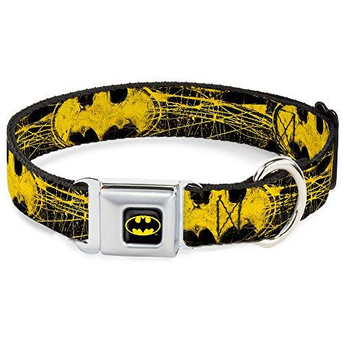 "Buckle-Down Seatbelt Buckle Dog Collar - Batman Shield CLOSE-UP Sketch Black/Yellow - 1"" Wide - Fits 15-26"" Neck - Large"
