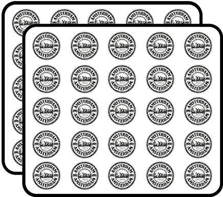 Amsterdam Nederland Grunge Rubber Stempel Reizen Vinyl Stickers Grappige Leuke voor Kinderen DIY Ambachten Scrapbooking, Laptop, Bumper Auto Stickers, Stickers voor Kinderen, 50 Pack