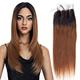 Ombre Straight Closure Remy Hair 1b/30 Lace Front Human Hair 4x4 Lace Closure Grade 8a Brazilian Hair 4x4 Closure Bleached Knots With Baby Hair Echthaar 16 Zoll