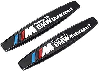 Duoles 2pcs Metal ///M Emblem Badge Sticker Motorsport Power for BMW M3 M5 X1 X3 X5 X6 E36 E39 E46 E30 E60 E92 Series metal 3D stereo labeling (Black)