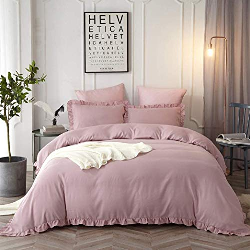 Omelas Blush Pink Ruffled Duvet Cover Set Twin Size Vintage Ruffle Fringe Comforter Cover Solid Color Farmhouse Rustic Single Bedding Soft Microfiber,Zipper Closure,1 Sham (Mauve Pink, Twin)