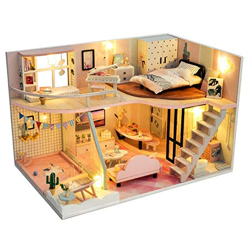 Casa de Juguete en Miniatura Casa de muñecas en Miniatura de Madera con Muebles de Bricolaje para el Regalo de los niños Juguete de construcción Modelo (Color : Multi-Colored, Size : 17 * 27 * 17CM)