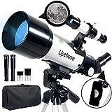 Upchase Telescopio Astronomico, 400/70mm Blanco, HD Refractor Telescopio, Ajustable Trípode, Observar la Luna, Estrella,Galaxias Cercanas, para Niños y Adultos Principiantes