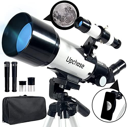 Upchase Telescopio Astronomico, 400 70mm Bianca, HD Telescopio Rifrattore, Osserva la Luna e Le Galassie Vicine, per Bambini Principianti Adulti, con Adattatore Telefonico, Treppiede Regolabile