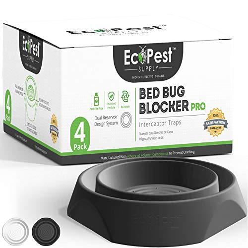 Bettwanzen Detektor – 4er Pack | Bettwanzenfalle Bed Bug Blocker (Pro) | Bettwanzen Test (Shwarz) | Insektenfalle, Wanzen Monitor und Detektor für Bettbeine